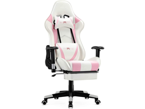 Ficmax Massage Gaming Chair Ergonomic Gamer Chair with Footrest Reclining Game Chair with Armrest High Back PC Gaming Chair Racing Style Home Office Chair with Head and Lumbar Support (Pink/white)