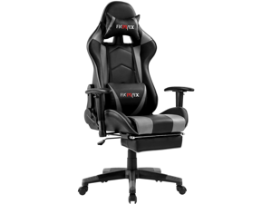 Ficmax Massage Gaming Chair Ergonomic Gamer Chair with Footrest Reclining Game Chair with Armrest High Back PC Gaming Chair Racing Style Home Office Chair with Head and Lumbar Support (Black/gray)