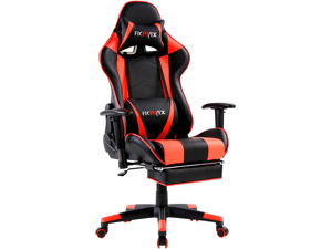 Ficmax Massage Gaming Chair Ergonomic Gamer Chair with Footrest Reclining Game Chair with Armrest High Back PC Gaming Chair Racing Style Home Office Chair with Head and Lumbar Support (Black/Red)