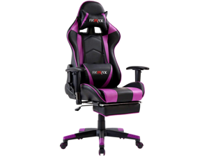 Ficmax Massage Gaming Chair Ergonomic Gamer Chair with Footrest Reclining Game Chair with Armrest High Back PC Gaming Chair Racing Style Home Office Chair with Head and Lumbar Support (Black/purple)