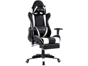 Ficmax Massage Gaming Chair Ergonomic Gamer Chair with Footrest Reclining Game Chair with Armrest High Back PC Gaming Chair Racing Style Home Office Chair with Head and Lumbar Support (Black/white)