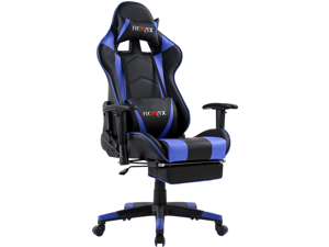 Ficmax Massage Gaming Chair Ergonomic Gamer Chair with Footrest Reclining Game Chair with Armrest High Back PC Gaming Chair Racing Style Home Office Chair with Head and Lumbar Support (Black/blue)