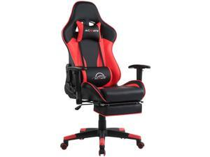 Acmate Massage Gaming Chair with Footrest, Ergonomic Office Chair PU Leather Computer Chair with Lumbar Support, Racing Style PC Game Chair High Back Reclining Desk Chair for Gamer (Black Red)