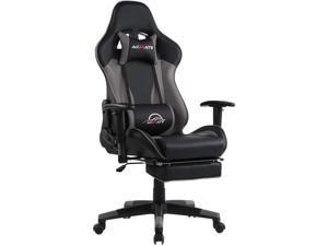 Acmate Massage Gaming Chair with Footrest, Ergonomic Office Chair PU Leather Computer Chair with Lumbar Support, Racing Style PC Game Chair High Back Reclining Desk Chair for Gamer (Black Grey)
