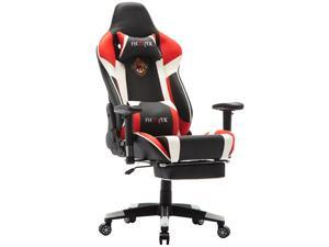 Ficmax Massage Gaming Chair High-Back Gaming Office Chair Recliner Computer Chair for Gaming Ergonomic Racing Style E-Sports Chair Height Adjustable Gaming Desk Chair with Lumbar Support and Footrest