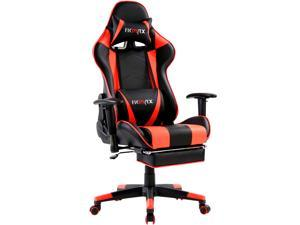 Ficmax Massage Gaming Chair Ergonomic Gamer Chair with Footrest Reclining Racing Chair Pro E-Sport Chair High Back PC Gaming Chair with Headrest and Lumbar Support Heavy Duty Computer Chair(Black/Red)