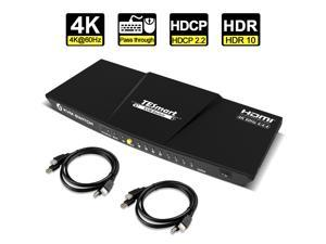 TESmart Newest HDMI KVM Switch 4 Port 4K@60Hz Ultra HD 4x1 HDMI KVM Switcher with 2 Pcs 5ft KVM Cables Supports Mechanical and Multimedia Keyboard &Mouse USB 2.0 Devices Control up to 2 Computers/Serv