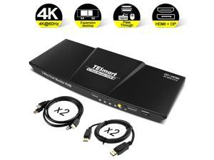 TESmart Dual Monitor KVM DP + HDMI switch, 4K Ultra HD with 3840 x 2160 at 60 Hz 4: 4: 4; supports USB 2.0 device operation up to max. 2 monitors and 2 computers / servers / DVR with 2 5ft HDMI KVM