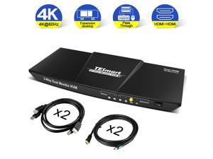 TESmart HDMI KVM Switch 2 input 2 output  Dual Monitor KVM Switch  Extended Display, 4K 3840*2160@60Hz, Support HDR 10, HDCP 2.2, With audio  output and USB 2.0 port