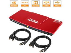 TESmart 4x1 HDMI KVM Switch 4K 3840x2160@60Hz 4:4:4 USB 2.0 2Pcs 5ft KVM Cables Control of 4 Computers/ Servers/DVR (RED) EU Standard Plug