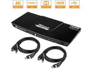 TESmart 4x1 HDMI KVM Switch 4K 3840x2160@60Hz 4:4:4 with 2 pcs 5ft KVM Cables USB 2.0 Control of 4 Computers/ Servers/ DVR (BLACK) US Standard Plug