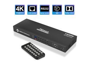 TESmart KVM Switch 4K60Hz UHD 8 Ports Inputs HDMI Control up to 8 Computers/Servers, USB 2.0 Device, RS232/ LAN Port Control Switch, Rack Mount Switch with 4 Pcs 5ft/1.5m KVM Cable