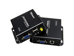 TESmart 1080P 60Hz Long Range 984ft USB VGA KVM Extender Over Cat5e Cat6 Ethernet Cable (up to 984ft/300m, Sender+Receiver)