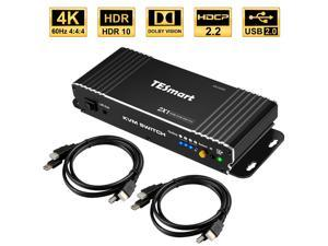 TESmart HDMI interface 2 inputs 1 output KVM Switch , support 4k @60hz Support HDR 10 and Dolby Vision ,Complaint with HDCP 2.2, With USB2.0 and audio output interface
