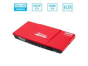 TESmart 1x4 HDMI Splitter 4K@60Hz 4:4:4 (RED)