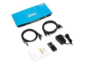 TESmart 2x1 HDMI KVM Switch 4K 3840x2160@60Hz 4:4:4 USB 2.0 2Pcs 5ft KVM Cables Control of 2 Computers/Servers/DVR (Blue) US Standard Plug