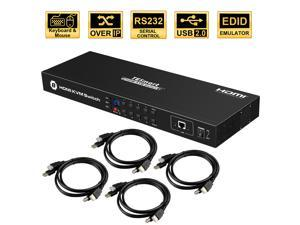 TESmart 4K UHD 8 Ports Inputs HDMI KVM Switch, Control up to 8 Computers/Servers, USB 2.0 Device, RS232/ LAN Port Control Switch, Rack Mount Switch with 4 Pcs 5ft/1.5m KVM Cable
