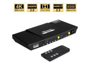 TESmart 4x1 HDMI Switch Ultra HD supports 4K@60Hz 4: 4: 4, 4-port HDMI switch 3DTV pass-through, Support S/PDIF and L/R audio out and IR remote control, For Xbox 360/One, PS4/PS3