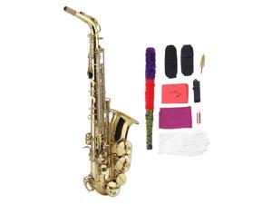 Professional Golden Eb Alto Sax Saxophone + Cork Grease Gloves+Strap+Cloth Instruments Parts Accessories