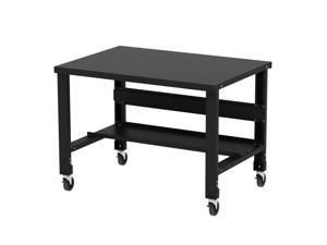 Borroughs Adjustable Height Black Painted Steel Top Workbench with Caster Kit, 34 in x 48 in