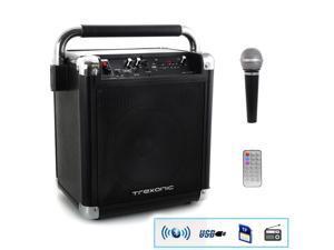 Trexonic TRX-99BLK Wireless Portable Party Speaker with USB Recording, FM Radio & Microphone, Black