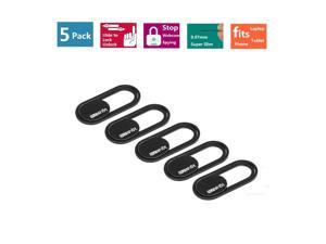 Webcam Cover 0.7mm Thin - Magnet Slider Camera Cover - Protects Your Privacy, Stops Webcam Spying, Fits Smartphone Laptops Macbooks PCs Tablets and All-in-one desktops (Black(5pack))