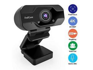 HD Pro Webcam, 8MP Fixed Focus 4K/1080P Full HD Webcam USB Webcam Desktop Laptop Camera Live Streaming Webcam Built-in Mic Widescreen HD Video Webcam, Flexible Rotatable Clip[Upgraded Version]…