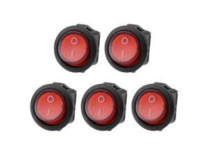 5PCS AC 250V/6A SPST 2 Terminal 2 Position On/Off Circular Boat Rocker Switch