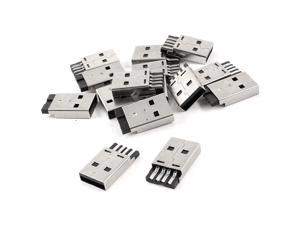 15 Pieces USB 2.0 Type-A Male Plug Solder Jack Connector Sockets