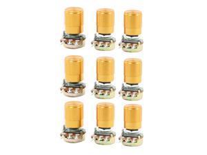 Unique Bargains 9pcs 50K ohm 6mm Knurled Shaft 3-Pin Single Linear Potentiometers w Rotary Knob