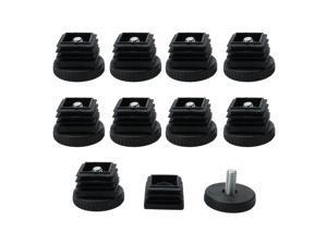 Adjustable Leveling Feet 25 x 25mm Square Tube Inserts Furniture Glide 10 Sets