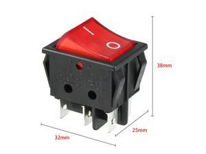 20pcs AC 250V/125V 16A On/Off DPDT Rocker Switch Latching Red Light UL Listed
