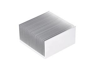 Parallel Line Notch Heatsink for LED and Power Silver 69 x 69 x 36 mm