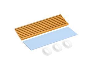 M.2 Aluminum Heatsink Kit 70x22x3mm Golden Tone with Silicone Thermal Pads for 2280 SSD