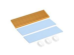 M.2 Aluminum Heatsink Kit 70x22x3mm Golden Tone with Two Silicone Thermal Pads for 2280 SSD