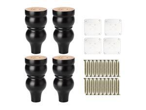 6 Inch Solid Wood Furniture Legs Sofa Couch Chair Table Closet Cabinet Feet Replacement Adjuster Set of 4