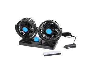 Black DC 12V 3W Double Headed Adjustable Angle Automobile Car Cooling Fan