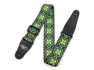 Faux Leather End National Style Adjustable Guitar Shoulder Strap Bass Belt Green