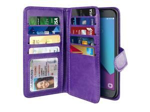 NEXTKIN Galaxy J3 Emerge Case, Leather Dual Wallet Folio TPU Cover, 2 Large Pockets