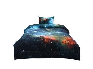 Twin 2-piece Galaxies Blue Comforter Sets - 3D Space Themed - All-season Down Alternative Quilted Duvet - Reversible Design - Includes 1 Comforter, 1 Pillow Case