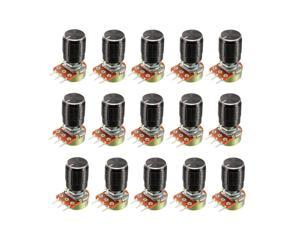 WH148 15Pcs 10K Ohm Variable Resistors Single Turn Rotary Carbon Film Taper Potentiometer with Knobs