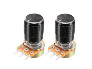 2Pcs 100K Ohm Variable Resistors Single Turn Rotary Carbon Film Taper Potentiometer with Knob