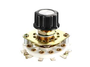 1P7T 1 Pole 7 Position 1 Deck Band Channel Rotary Switch Selector with Knob Cap