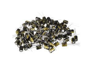 Aluminum Radial Electrolytic Capacitor 100uF 25V Life 6 x 7 mm Black 100pcs
