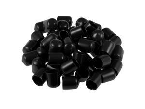 Screw Thread Protectors 17mm ID Round End Cap Cover Black Tube Caps 10pcs