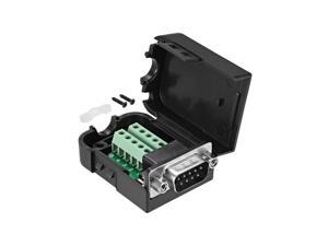 D-sub DB9 Breakout Board Connector with Case 9 Pin 2 Row Male RS232 Serial Port Solderless Terminal Block Adapter with Positioning Nuts