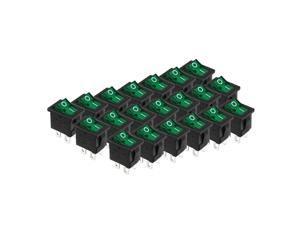 20pcs AC 250V/6A 125V/10A DPST Rocker Switch Latching Green Light UL Listed