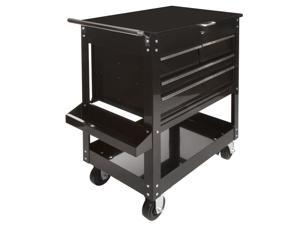 STEELMAN 99323 Black 4-Drawer, 2-Shelf Rolling Tool and Utility Cart