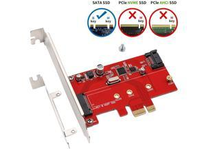 WERLEO PCIe to SATA 3.0 and M.2 Adapter Simultaneously Connect NGFF SATA Based B Key SSD and SATA HDD or CD Drive SATA III to PCIe 6G Expansion Card with Low Profile Bracket