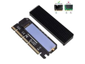 WERLEO NVME Adapter PCIe x16 with Heat Sink, M.2 SSD Key M to PCI Express Expansion Card Support PCIe x4 x8 x16 Slot Support 2230 2242 2260 2280, Compatible for Windows XP / 7/8 / 10